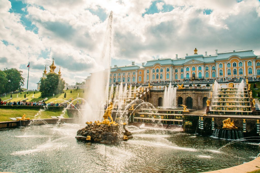 The Grand Cascade at Peterhof Palace in Russia