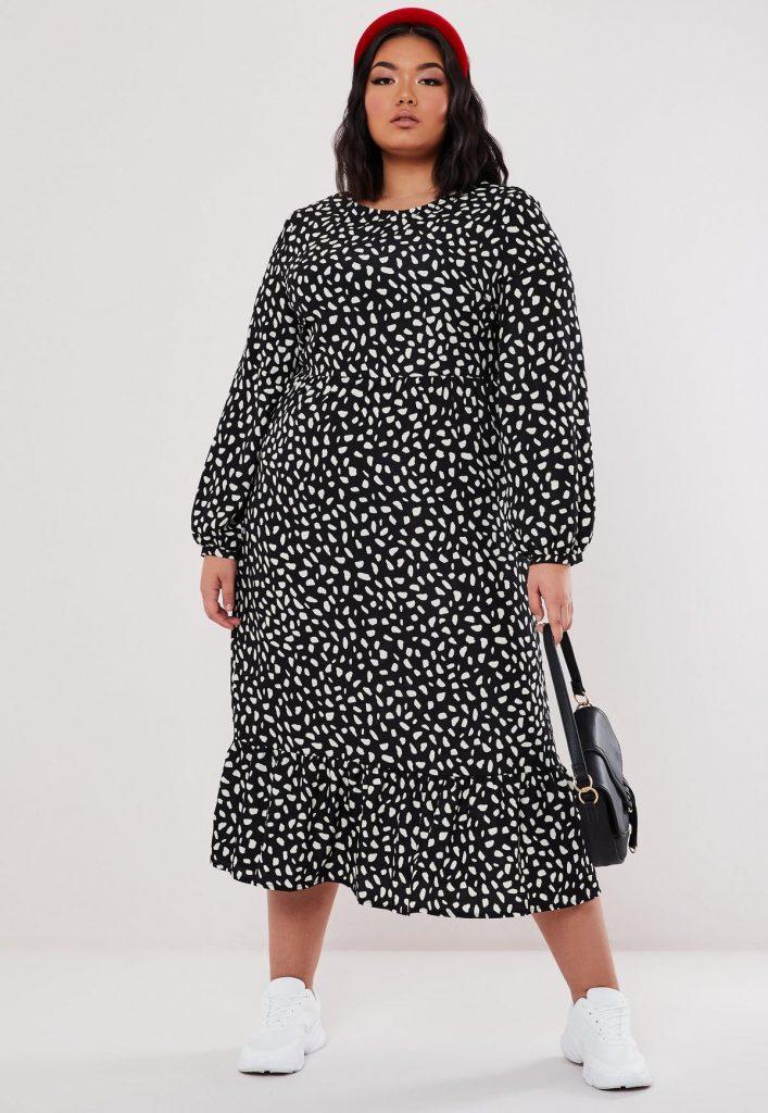 plus size black animal print midaxi smock dress