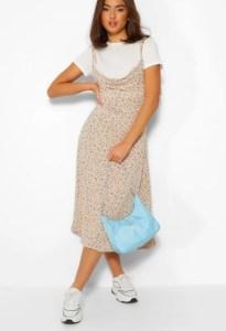 Short Sleeve T-Shirt & Ditsy Floral Midi Slip Dress