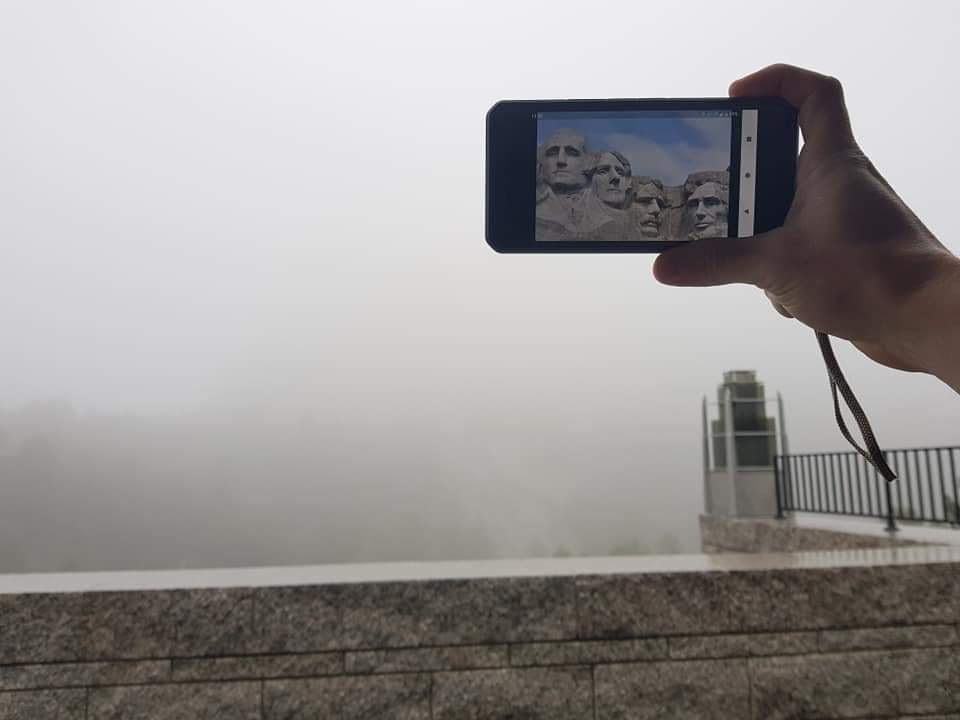 Mount Rushmore funny reality picture covered in fog