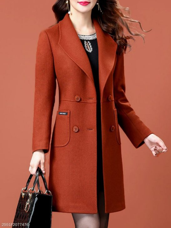 Berrylook Fold-Over Collar Plain Coat