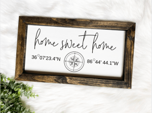 Route 32 Designs - Home sweet home sign with custom coordinates