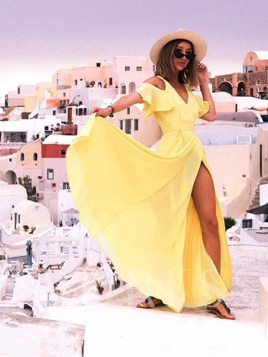 Yellow V-Neck Hole Shoulder Zip Maxi Dress