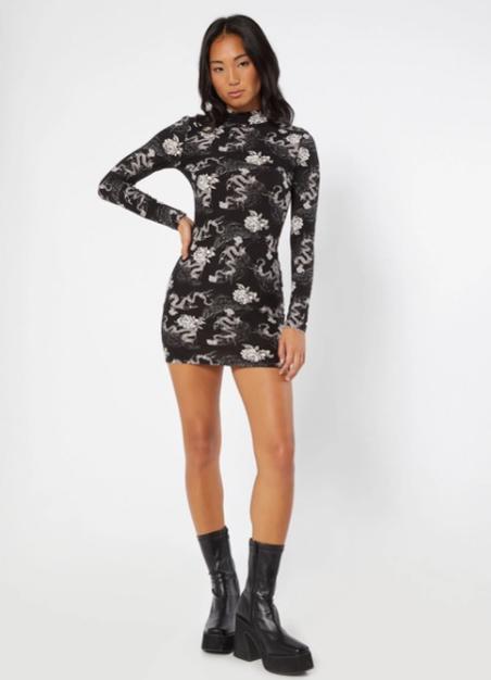 Black Dragon Print Super Soft Long Sleeve Mock Neck Mini Dress
