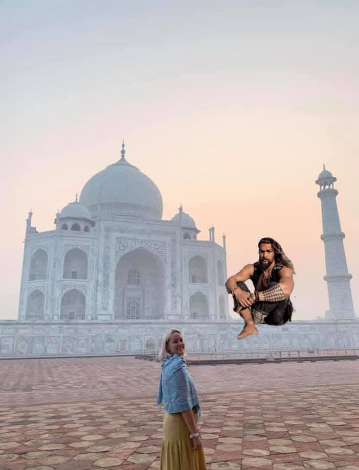 Funny Jason Momoa travel photo edit in India of the Taj Mahal