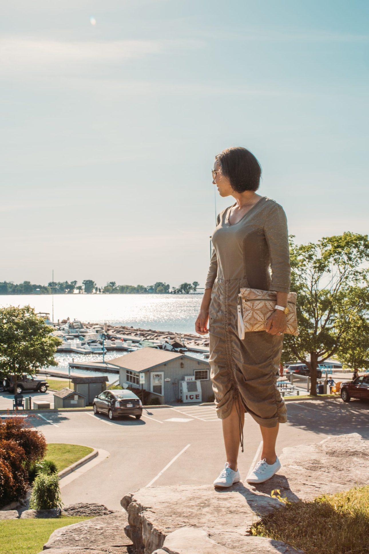 Carry Courage clutch being used in Door County Wisconsin - Egg Harbor