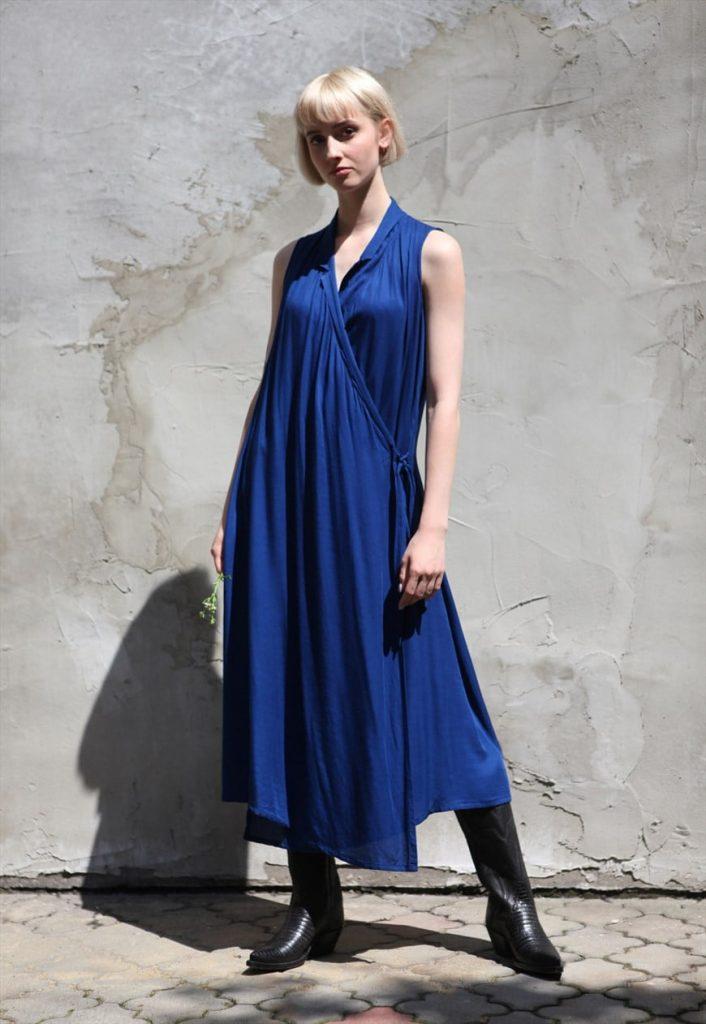 Designer Minimalist Wrap Dress In Cobalt Blue