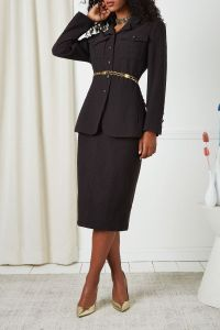 CHANEL F/W 1994 BROWN BOUCLÉ SKIRT SUIT