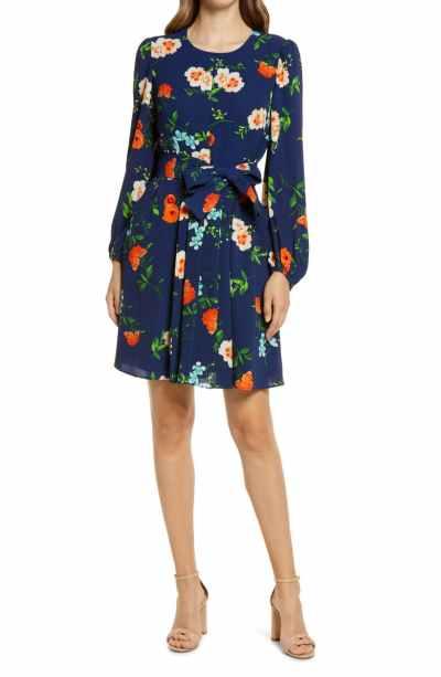 Long Sleeve Floral Print A-Line Dress ELIZA J