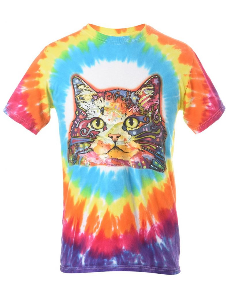 1990S TIE DYED CAT ANIMAL T-SHIRT - S 27 Online Thrift Shops for the Best Vintage & Secondhand Clothing