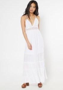 White Crochet V Neck Ruffle Maxi Dress