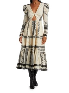HEMANT & NANDITA Mora Mixed Prints Midi-Dress