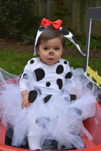 Homemade DIY dalmatian costume for baby girl