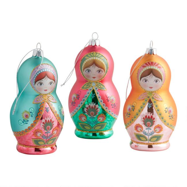 Glass Russian Matryoshka Doll Ornaments Set Of 3