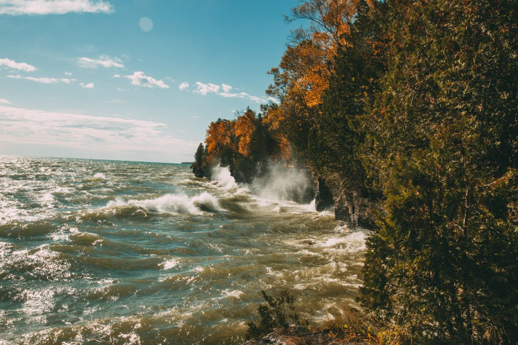 Cave Pointy County Park in Door County Wisconsin during fall