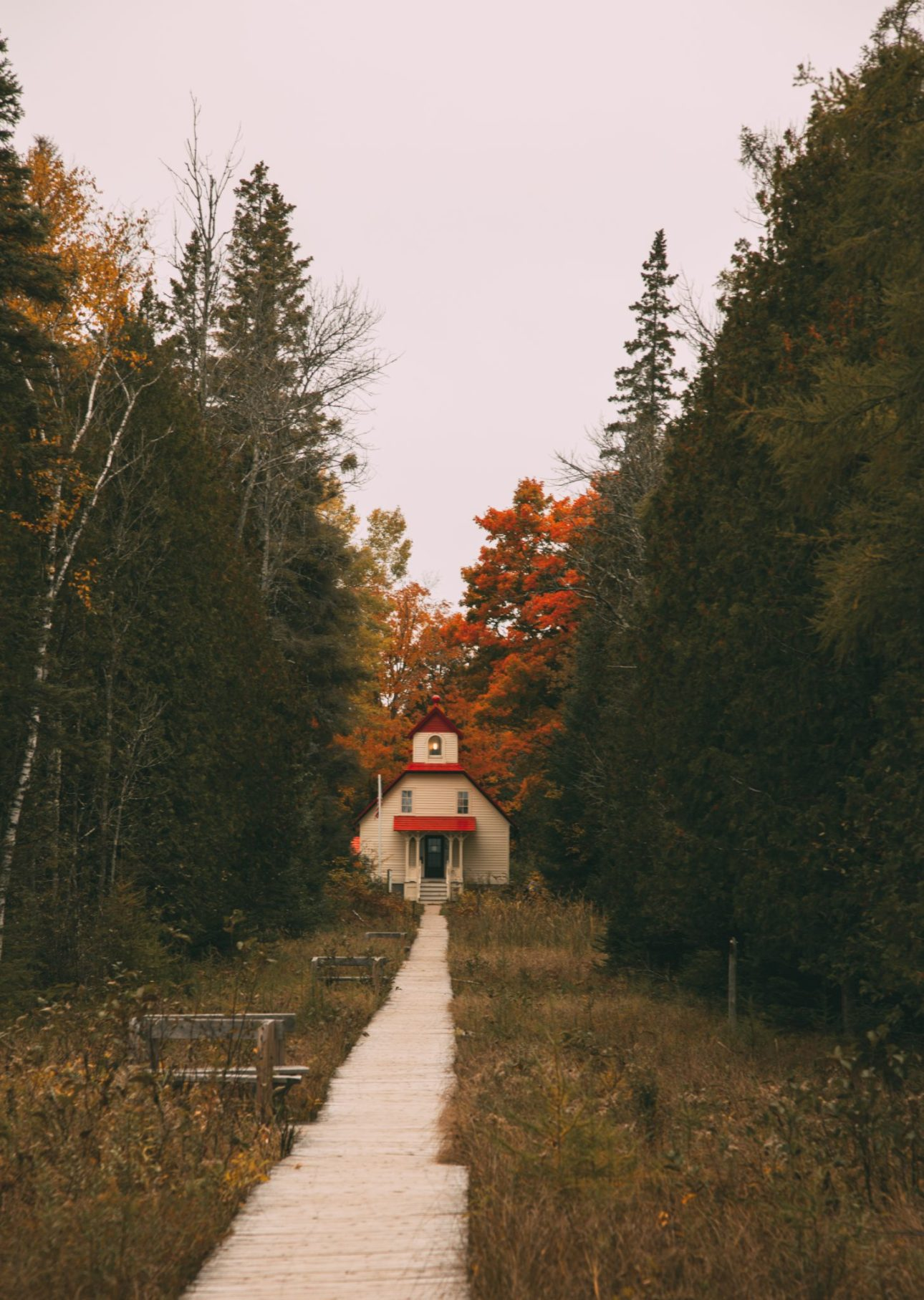 The Ridges Sanctuary lighthouse in Baileys Harbor Door County Wisconsin During fall