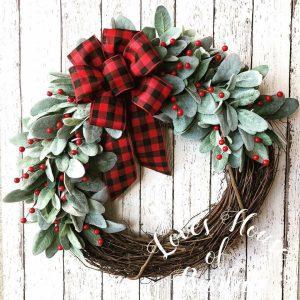 Christmas wreath, Holiday wreath, Farmhouse wreath, Buffalo check wreath, Farmhouse Christmas wreath, Buffalo check wreath