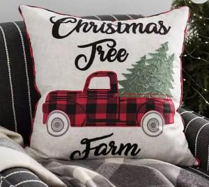 Christmas Tree Farm Buffalo Check Pillow
