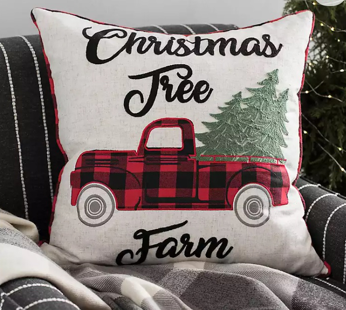 Christmas Tree Farm Buffalo Check Pillow