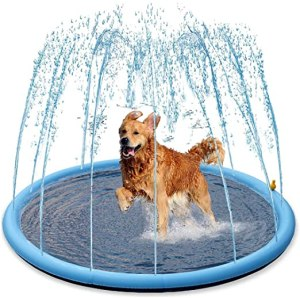 "Splash Sprinkler Pad for Dogs Kids - 59"" Thicken Dogs Pet Kids Swimming Pool Bathtub, 2020 New Pet Summer Backyard Playset & Water Toys, Gift for Kids, Toddlers and Dogs"