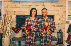 The Scotch On The Rocks matching couples Christmas pajamas set by Shinesty Mens Christmas Pajama Top