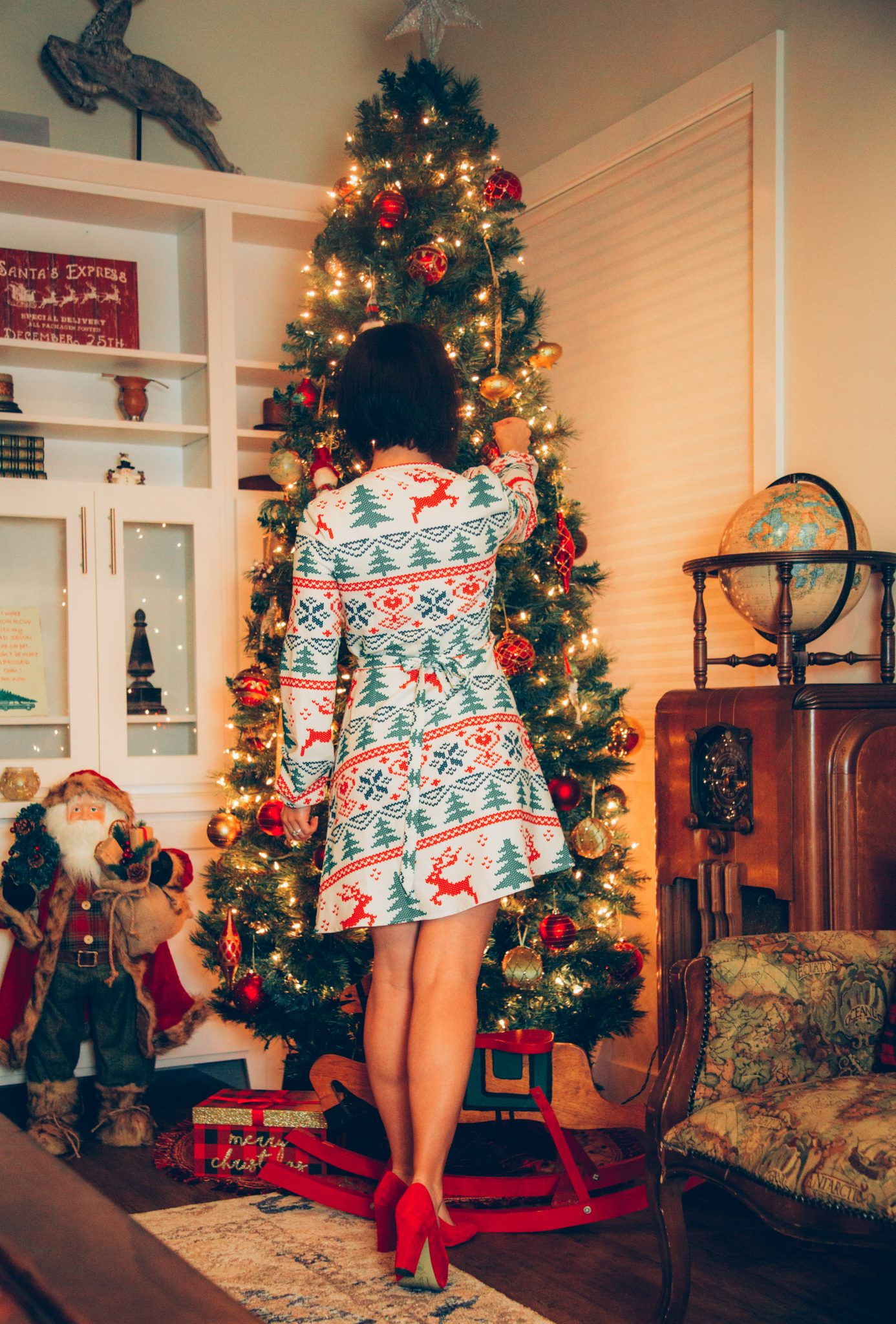 The Offly White Christmas Fair Isle White Christmas Wrap Dress