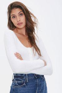 Fuzzy Sweater-Knit Bodysuit