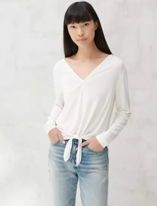 TIE FRONT V NECK TOP