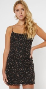 Black Ditsy Floral Print Fitted Mesh Dress