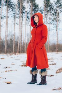 New Sorel Boots from Zappos paired with burnt orange Collectif Swing Coat