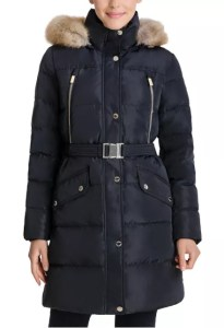 MICHAEL Michael Kors Belted Faux-Fur-Trim Hooded Down Puffer Coat, Created for Macy's