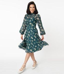 Unique Vintage Teal & White Floral Leota Swing Dress