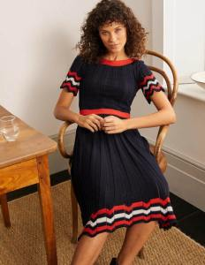 Agnes Pointelle Dress - Navy