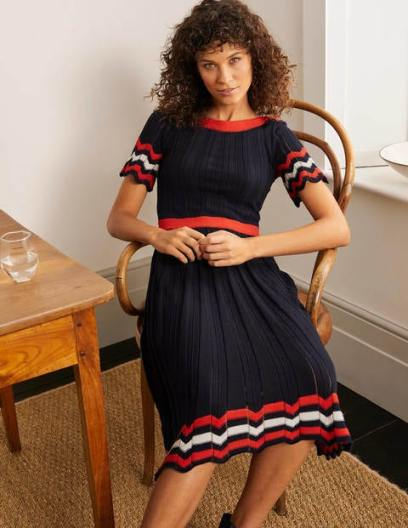 Agnes Pointelle Dress - Navy