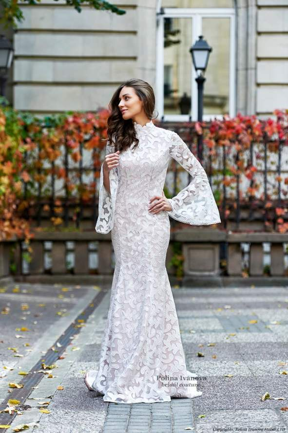 Wedding Dress with Bell Sleeves, Modest Wedding Dress, Simple Wedding Dress, Lace Wedding Dress, Long Sleeve Wedding Dress, Wedding Gown