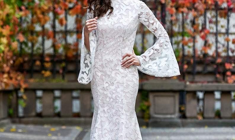 Wedding Dress with Bell Sleeves, Modest Wedding Dress, Simple Wedding Dress, Lace Wedding Dress, Long Sleeve Wedding Dress, Wedding Gown