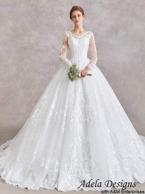Ball Gown Wedding Dress Long Sleeves Lace Bridal Gown Full Skirt