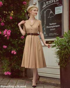 Gladys Dress in Solid Camel Beige COTTON