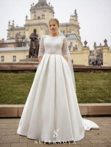 Classic 3 Quarter Lace Sleeves High Boat Neck Mikado Sparkle Wedding Dress Bridal Gown Plus Size Lace High Back with Train ALine Pockets
