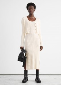Ribbed Side Slit Midi Knit Dress