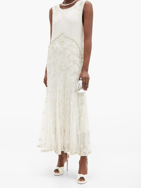 RICHARD QUINN Crystal and bead-embellished silk-tulle midi dress