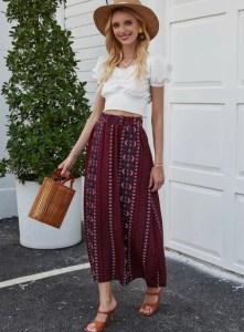Tribal Embroidery High Waist A-line Skirt