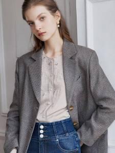 SIMPLE RETRO Willa Single-Breasted Oversize Blazer-Grey