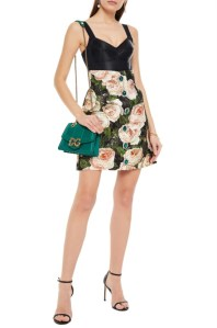 DOLCE & GABBANA Embellished metallic floral-print cotton-blend brocade mini skirt