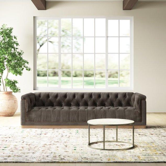 Owasa 95'' Tuxedo Arm Sofa