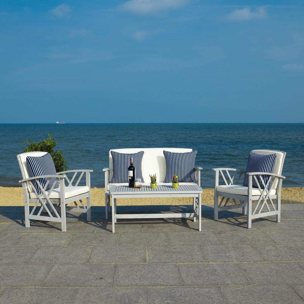 Safavieh Outdoor Living Fontana 4-Piece Patio Set - Grey/Beige/NavyWhite