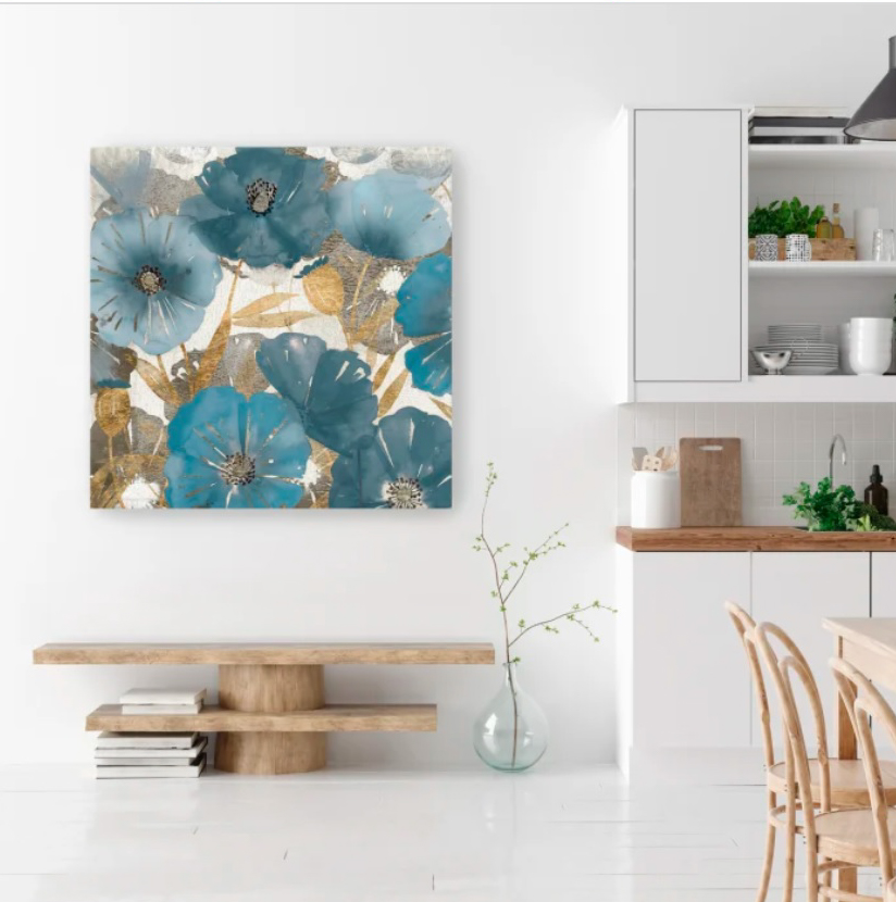 Blue And Gold Poppies I Canvas Giclee
