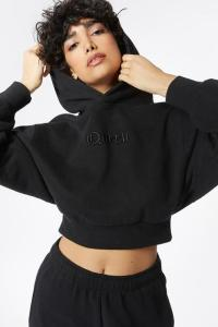 Fleece Embroidered Graphic Cropped Hoodie