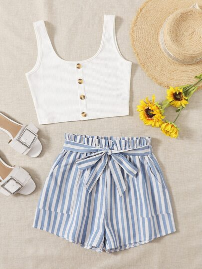 Button Front Tank Top & Stripe Belted Shorts