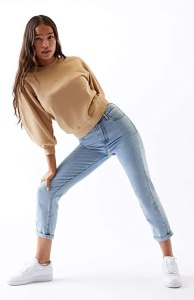 PacSun Women's Light Mom Jeans - 90s Throwback High Waisted Denim Jeans, Light Indigo